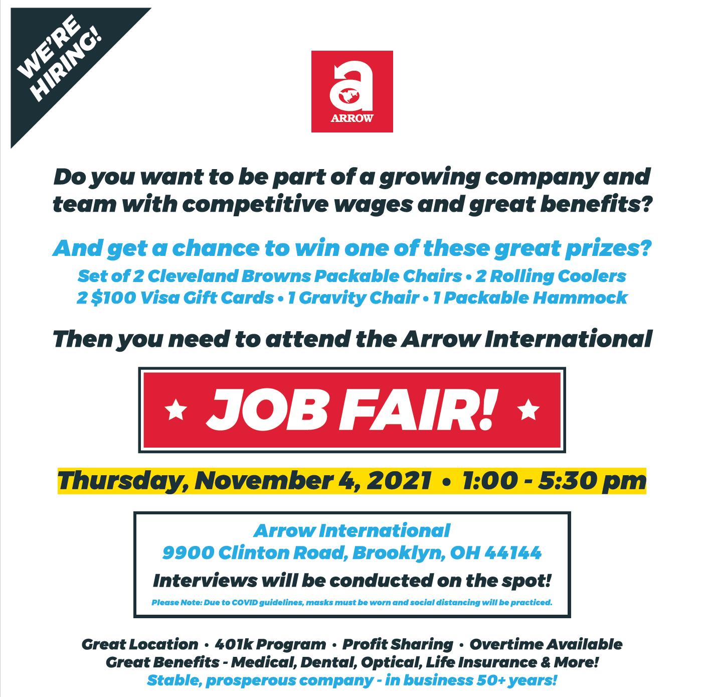 Job Fair; Sep 22, 2021 1:30pm-6pm;  Cleveland, Ohio